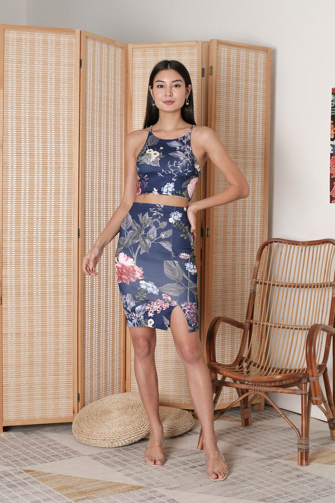 ALAIA 2 PC FLORAL SET IN NAVY
