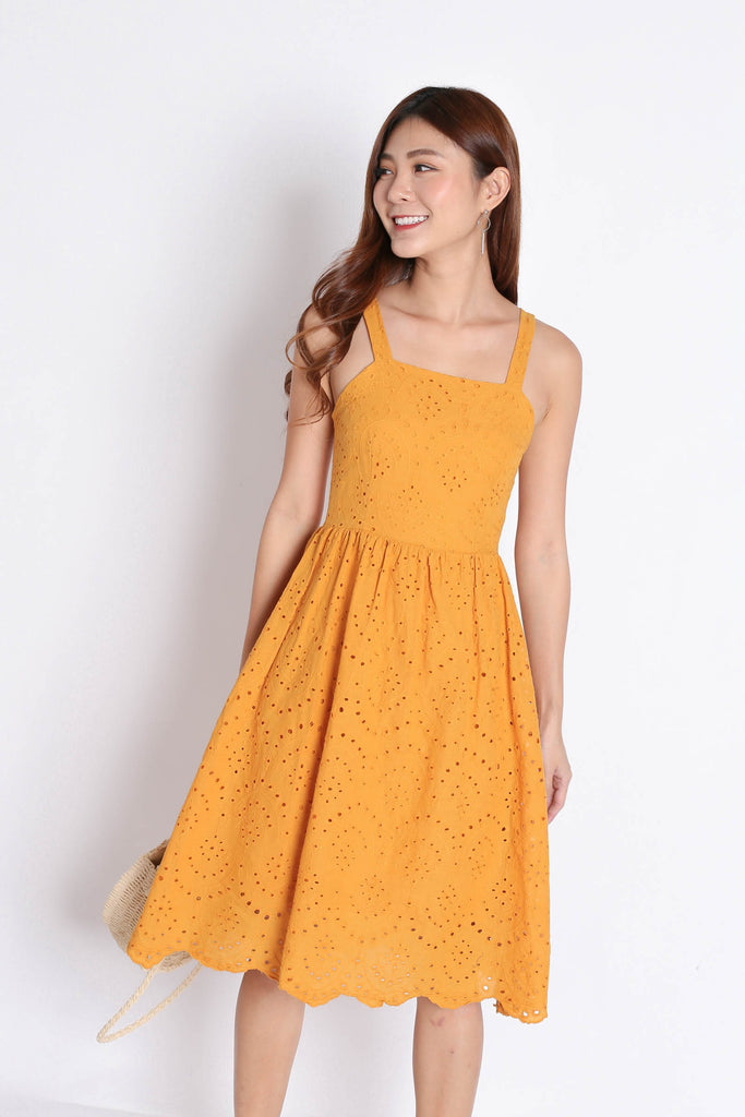 *TPZ* (PREMIUM) ISLA EYELET DRESS IN MARIGOLD - TOPAZETTE