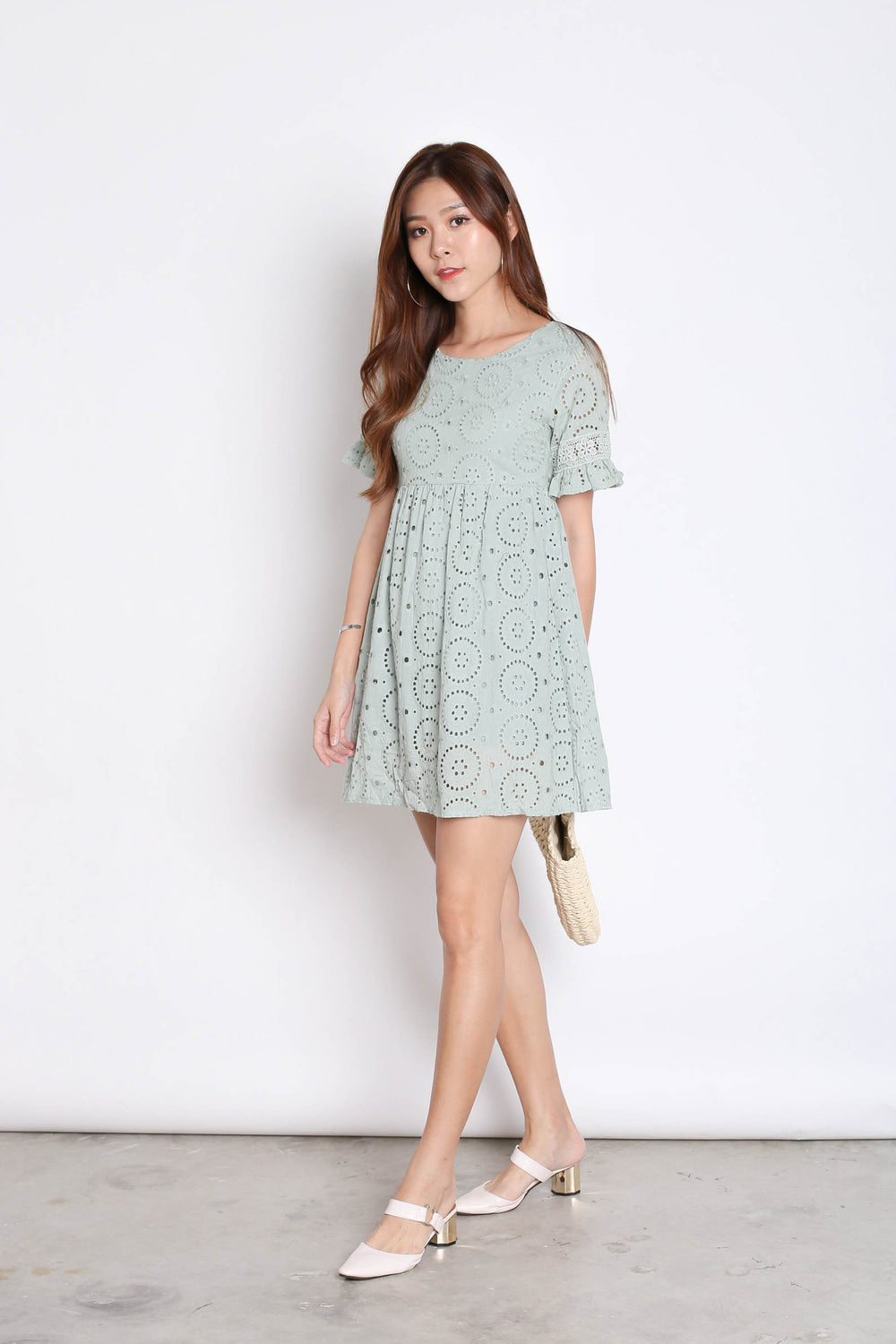 *TPZ* (PREMIUM) LAEL BABYDOLL DRESS ROMPER IN MINT