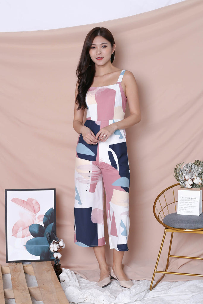 *TPZ* (PREMIUM) WILFRED CULOTTES JUMPSUIT IN WHITE ABSTRACT - TOPAZETTE