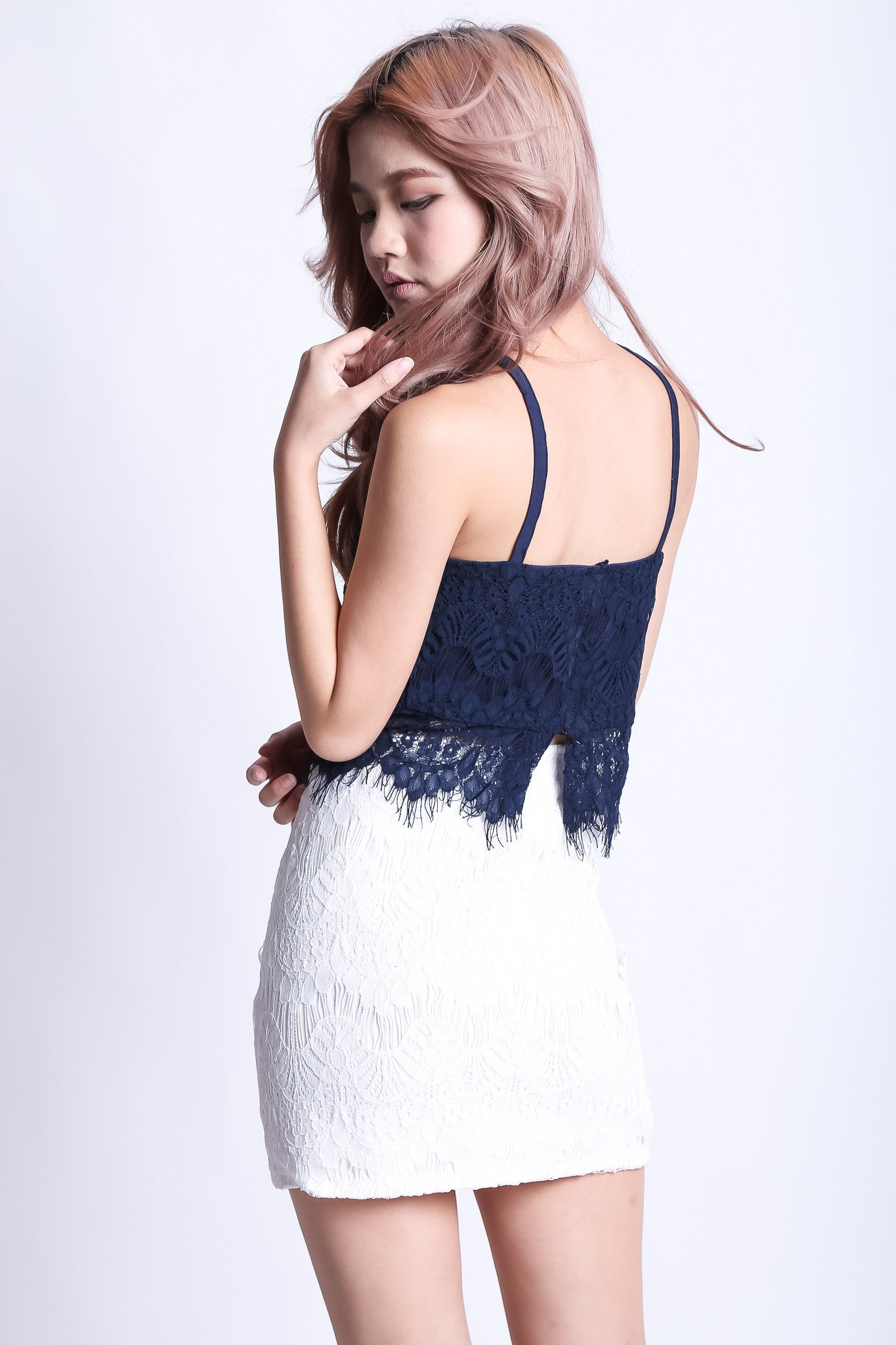 (RESTOCKED) FAITH LACE TOP IN NAVY - TOPAZETTE