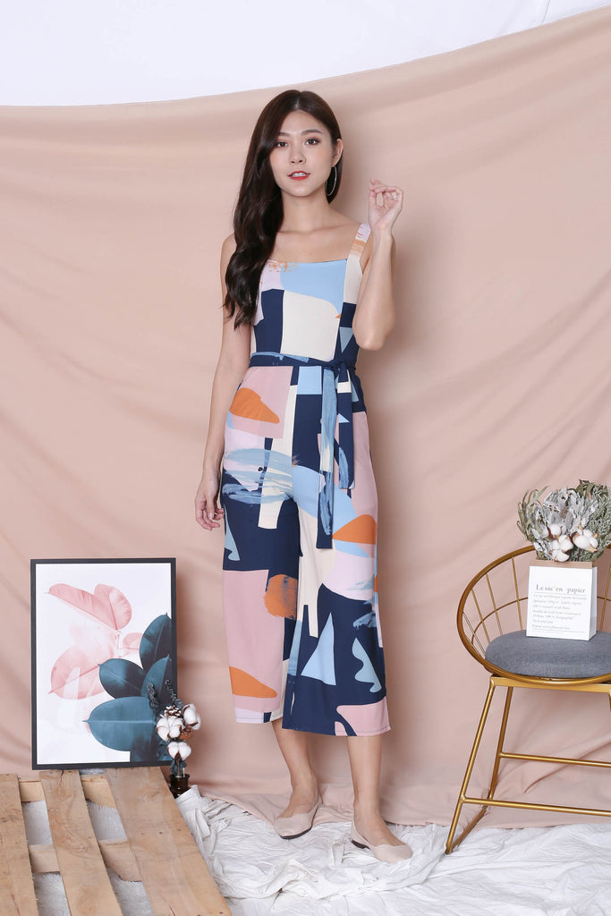 *TPZ* (PREMIUM) WILFRED CULOTTES JUMPSUIT IN NAVY ABSTRACT