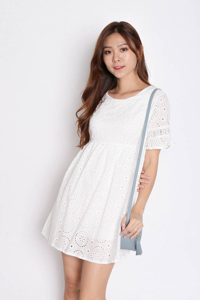 *TPZ* (PREMIUM) LAEL BABYDOLL DRESS ROMPER IN WHITE