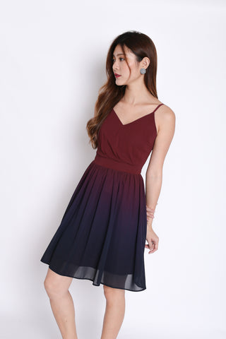 d2d4b0637ab8 (PREMIUM) FATE OMBRE SKATER DRESS (BURGUNDY  NAVY)