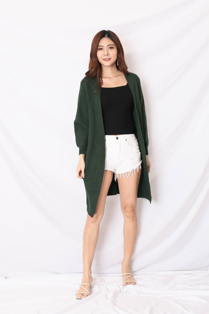 *BACKORDER* BEA COSY SOFT KNIT CARDIGAN IN FOREST
