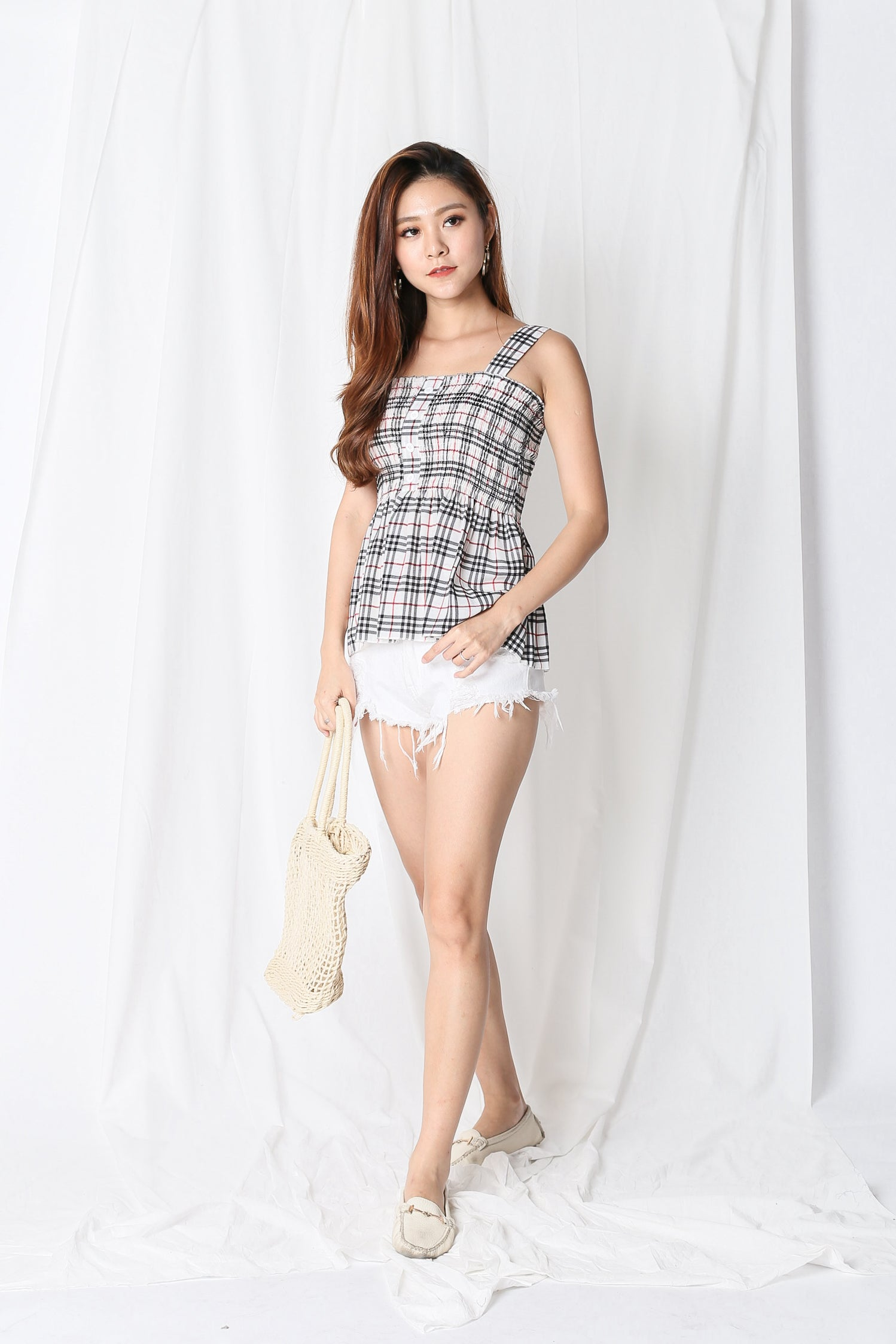 PERCY CHECKS BABYDOLL TOP IN OFF WHITE
