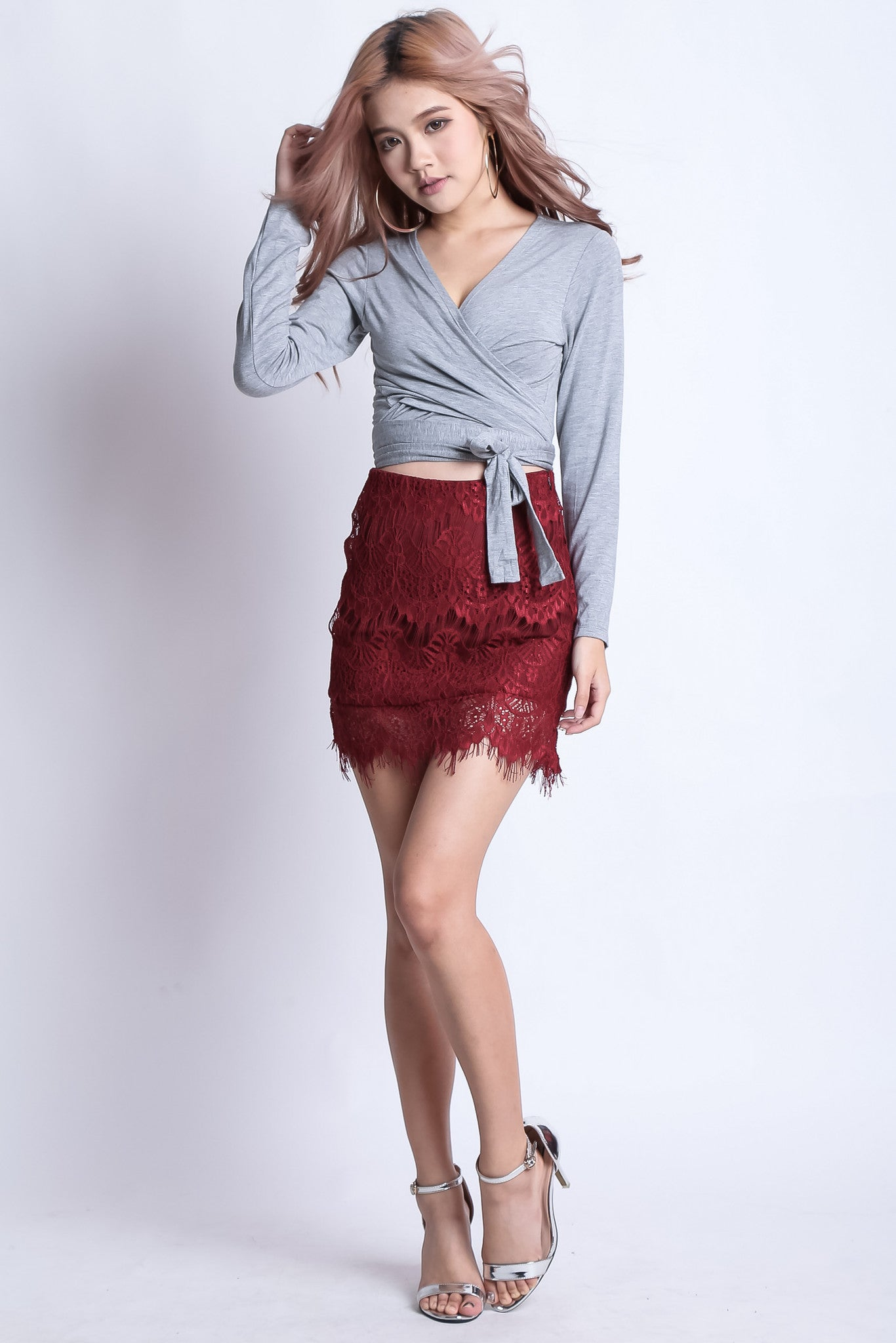 (RESTOCKED) SCARLETT LACE SKIRT IN WINE - TOPAZETTE