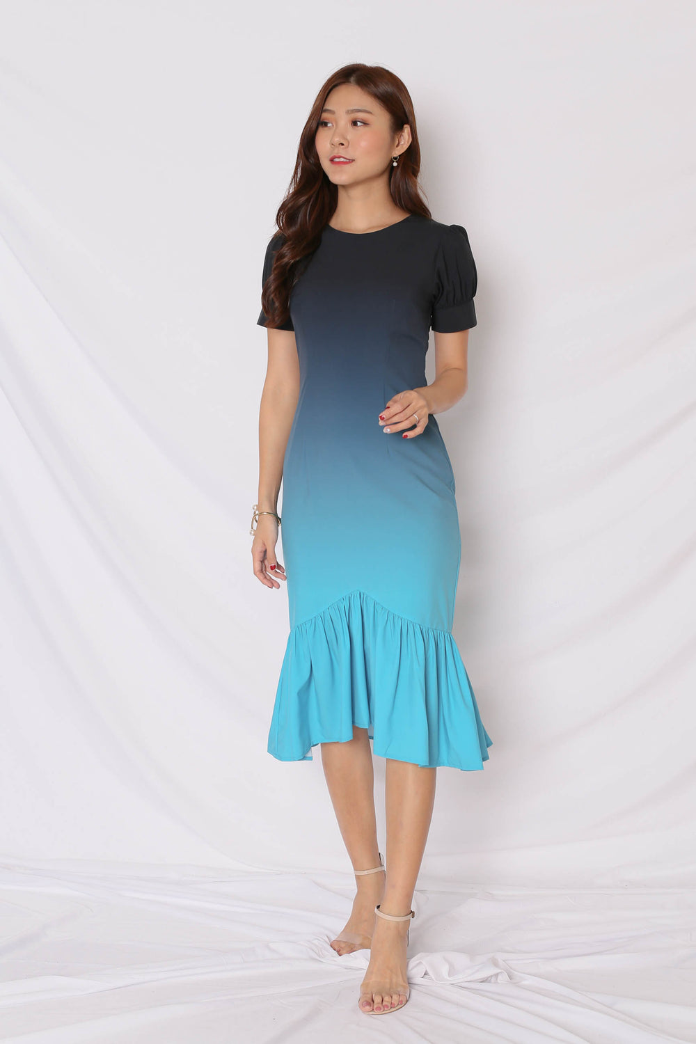 *TPZ* (PREMIUM) ALIZON OMBRE DRESS (BLACK/ TURQUOISE)