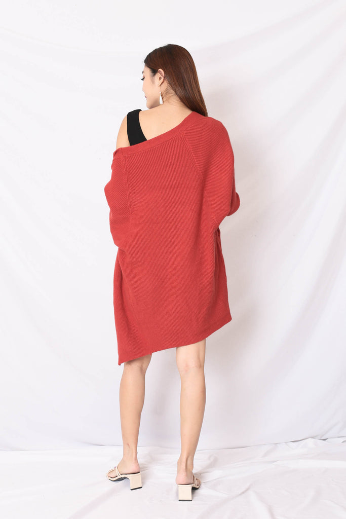 *BACKORDER* BEA COSY SOFT KNIT CARDIGAN IN BRICK RED