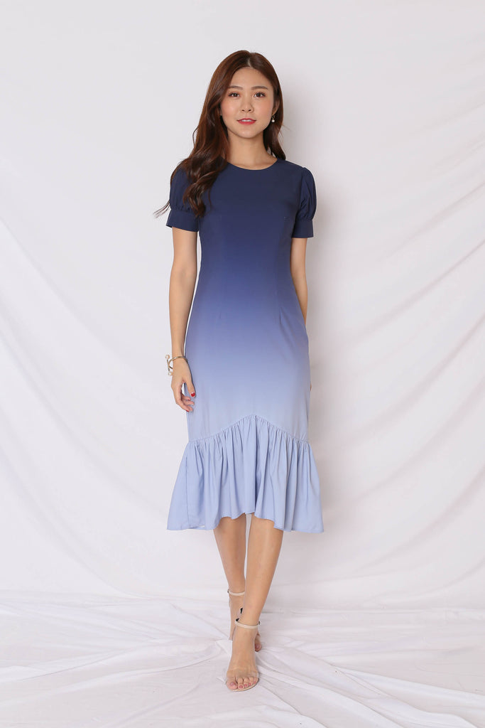 *TPZ* (PREMIUM) ALIZON OMBRE DRESS (NAVY/ GREY)