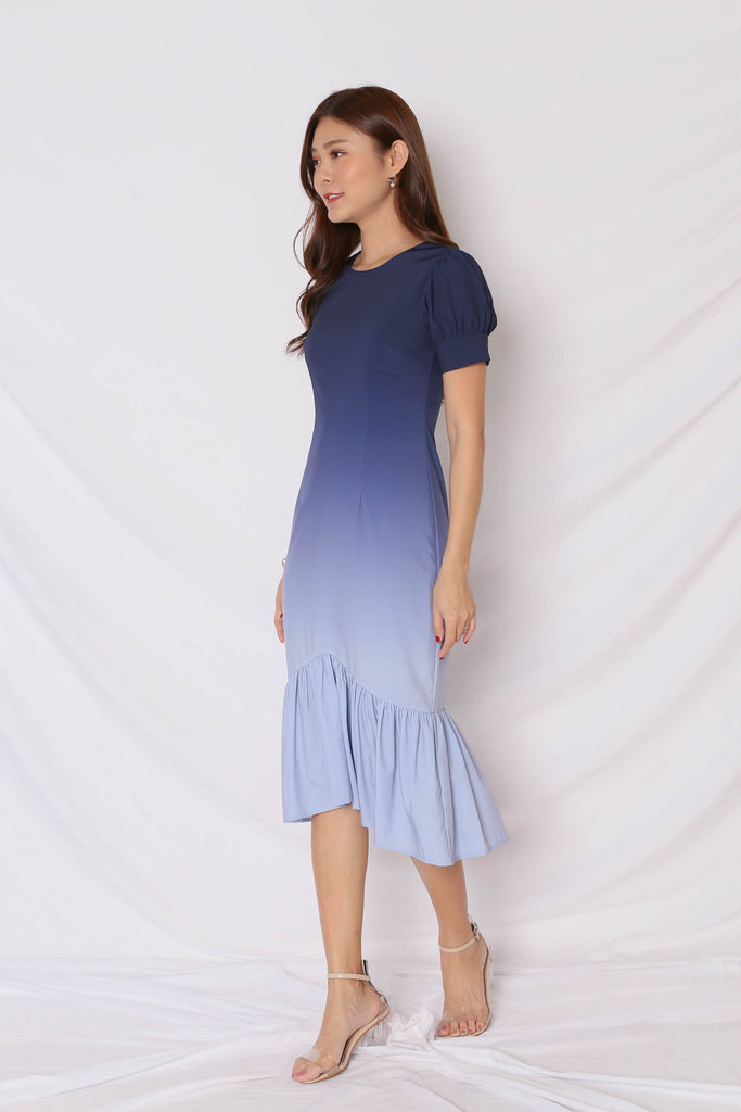 *TPZ* (PREMIUM) ALIZON OMBRE DRESS (NAVY/ GREY) - TOPAZETTE