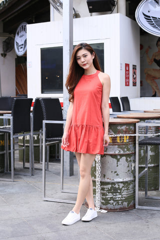 SUMMER DROP WAIST DRESS IN CORAL