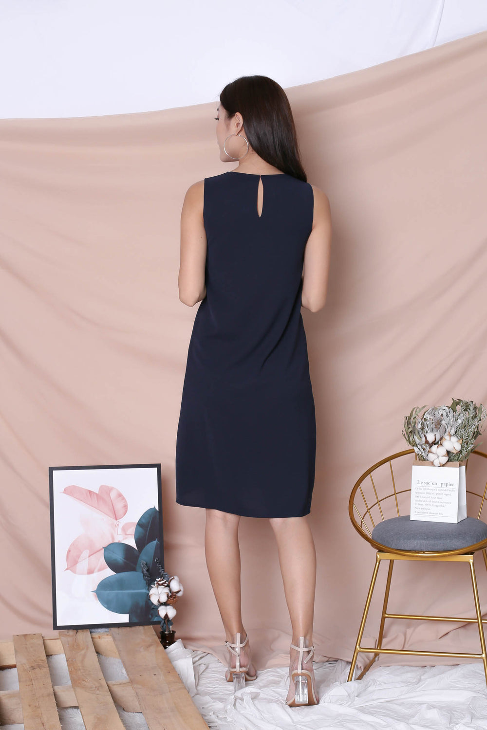 *TPZ* (PREMIUM) ZOE REVERSIBLE COLOURBLOCK DRESS (TEA ROSE/ NAVY)