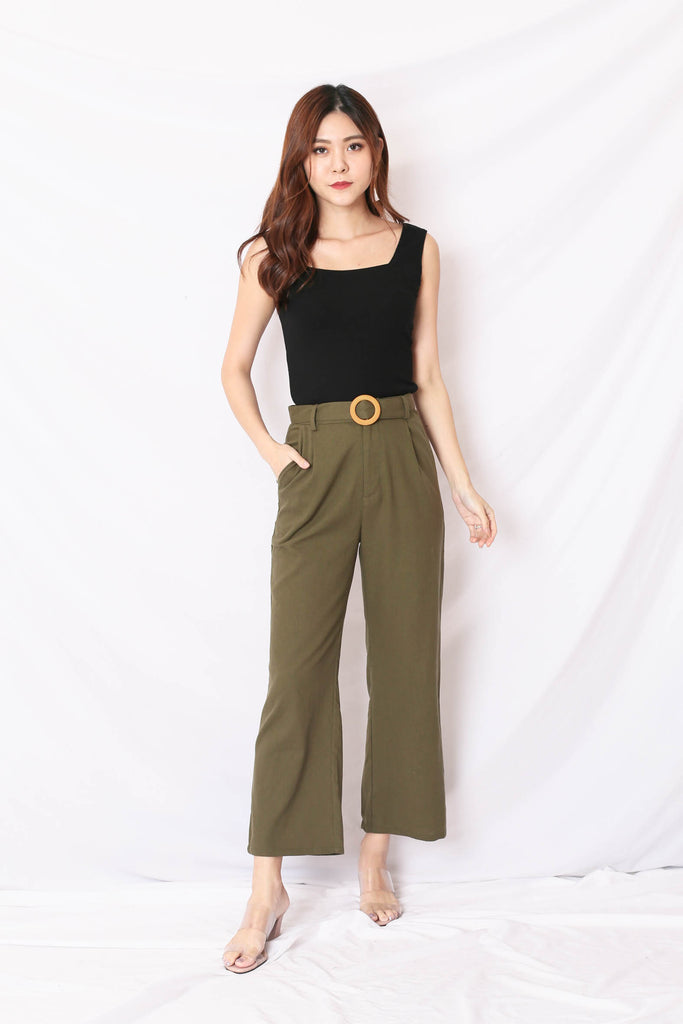 *TPZ* (PREMIUM) JOIE LINEN PANTS IN OLIVE GREEN