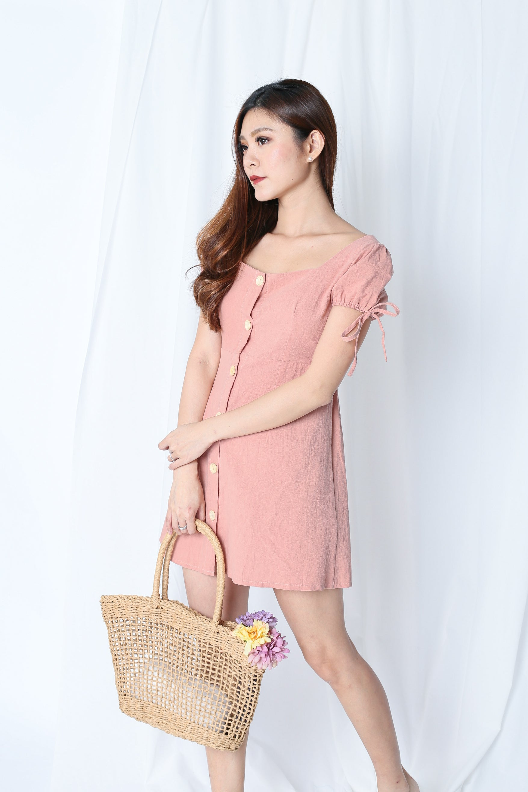 61f7d093a26 COURTNEY LINEN DRESS IN DUSTY PINK – TOPAZETTE