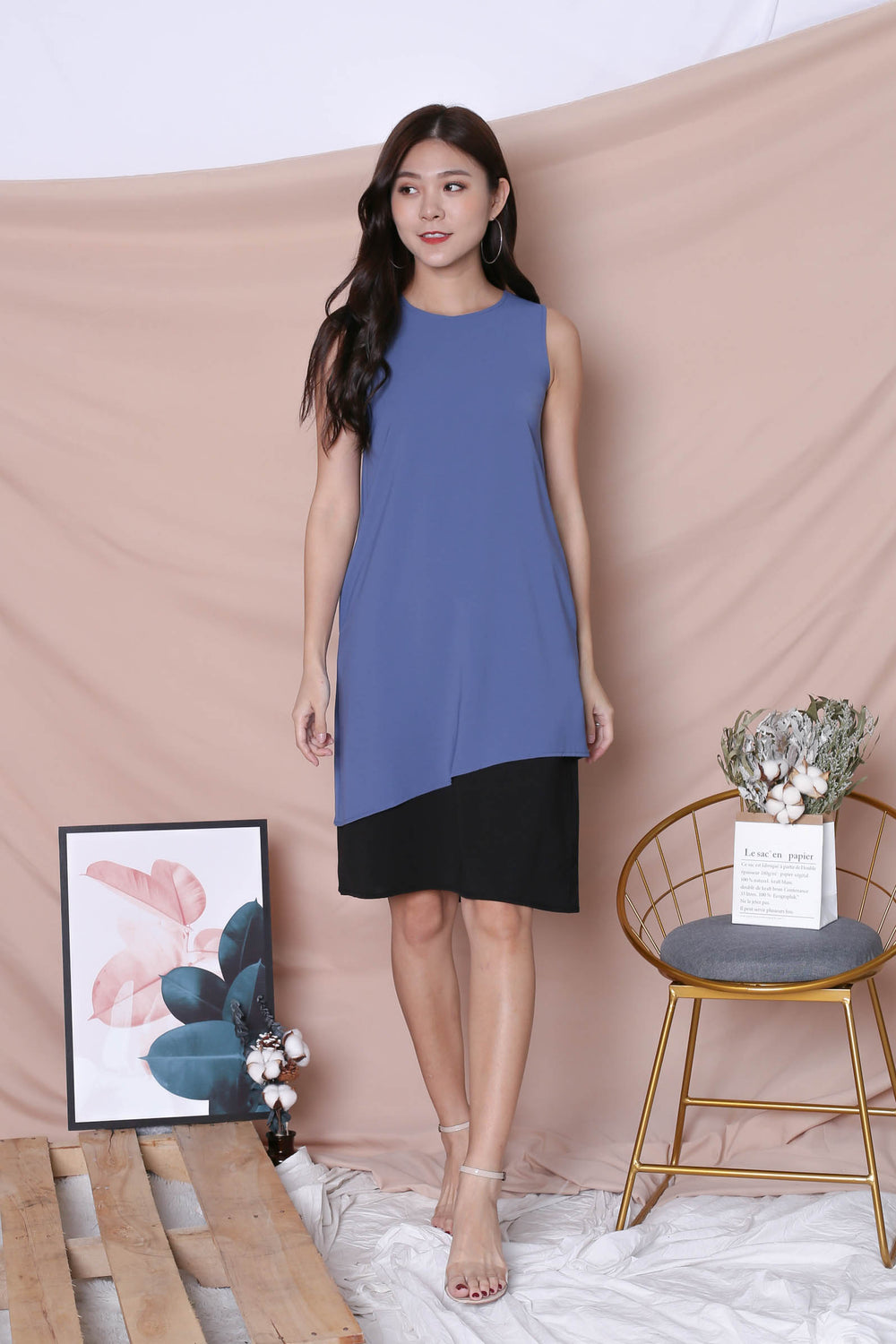 *TPZ* (PREMIUM) ZOE REVERSIBLE COLOURBLOCK DRESS (STALE BLUE/ BLACK)