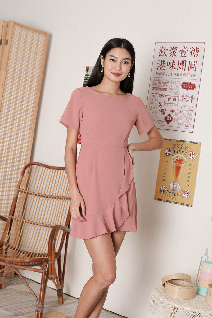*TPZ* WILLOW WRAP DRESS IN CORAL PINK