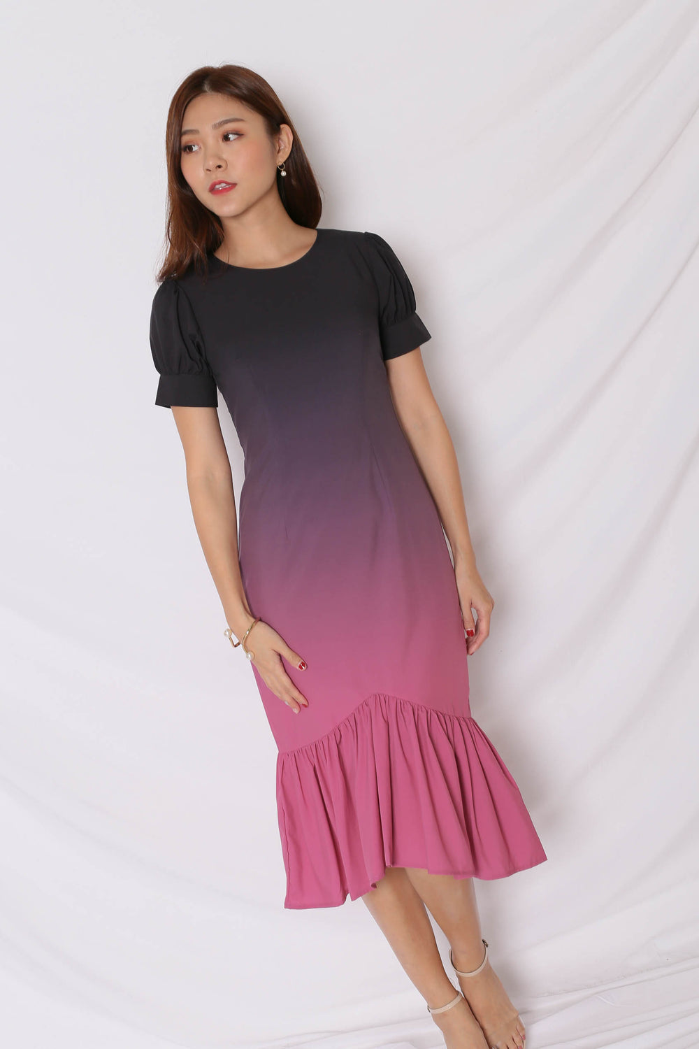 *TPZ* (PREMIUM) ALIZON OMBRE DRESS (BLACK/ FUCHSIA)