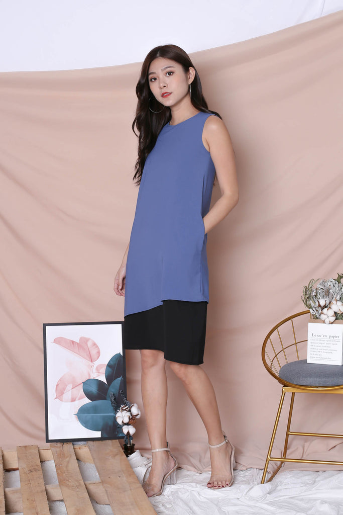 *TPZ* (PREMIUM) ZOE REVERSIBLE COLOURBLOCK DRESS (STALE BLUE/ BLACK) - TOPAZETTE