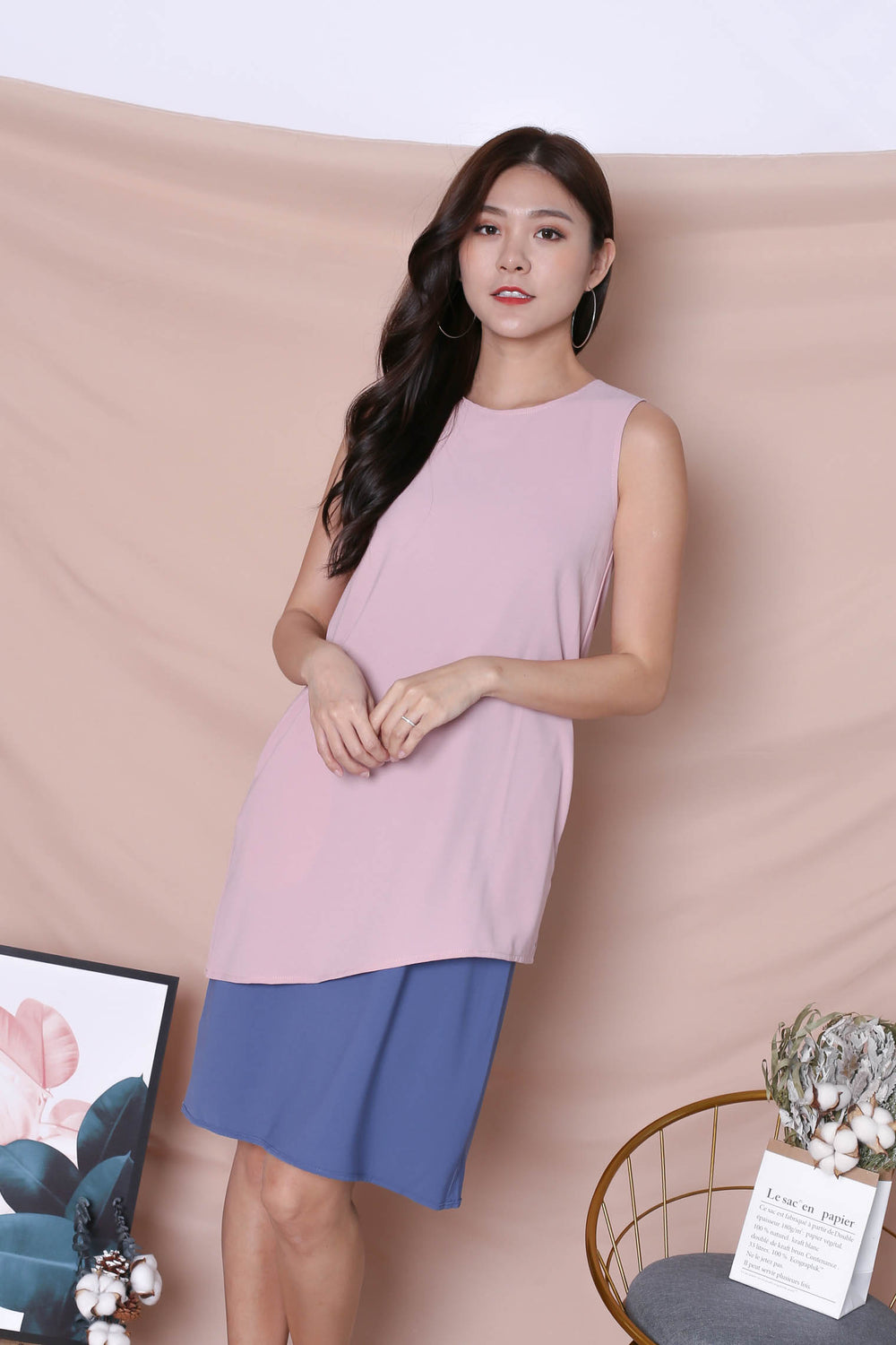 *TPZ* (PREMIUM) ZOE REVERSIBLE COLOURBLOCK DRESS (DUSTY PINK/ BLUE)
