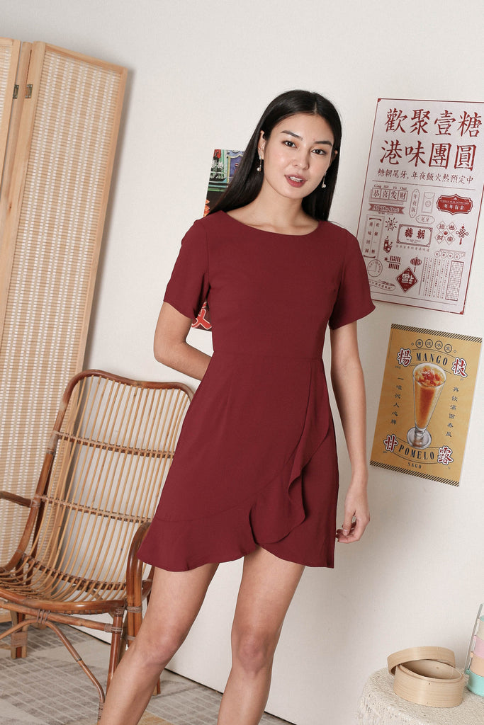 *TPZ* WILLOW WRAP DRESS IN BURGUNDY