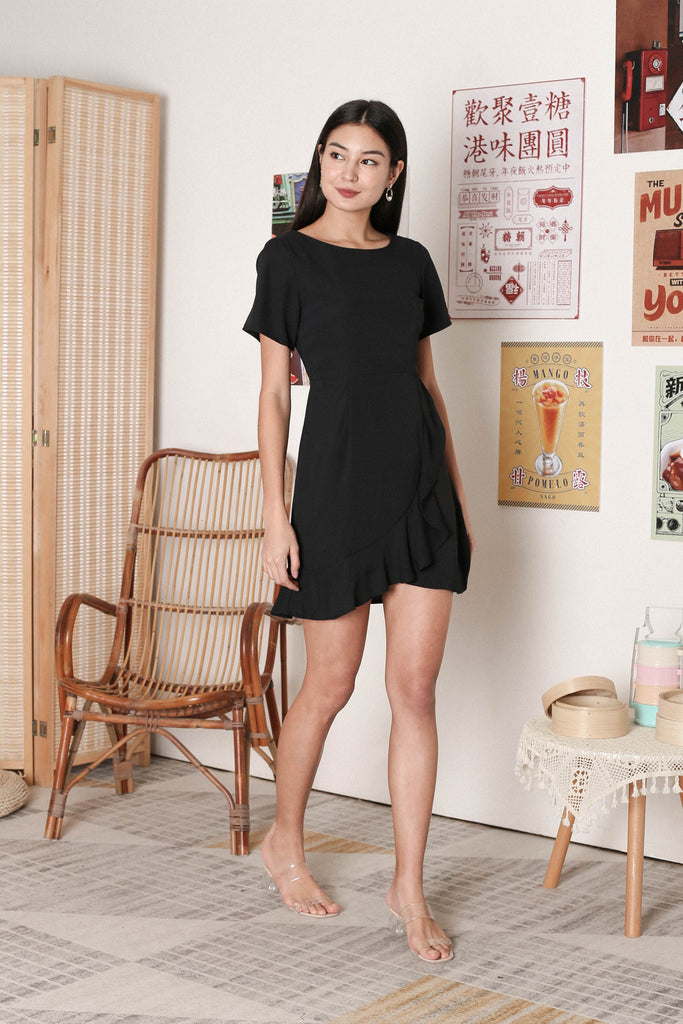 *TPZ* WILLOW WRAP DRESS IN BLACK