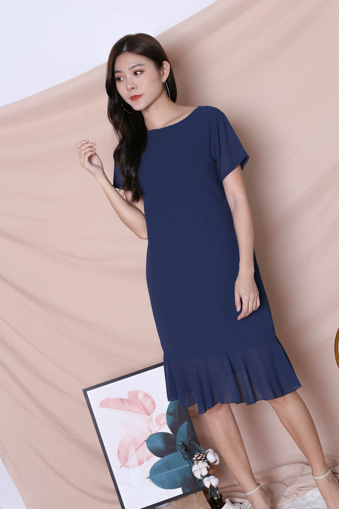 BASIC RUFFLES SLEEVED DRESS IN NAVY - TOPAZETTE