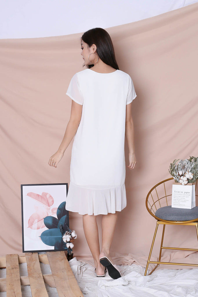BASIC RUFFLES SLEEVED DRESS IN WHITE - TOPAZETTE