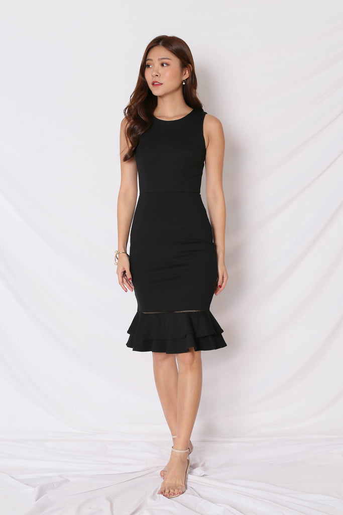 *TPZ* (PREMIUM) PRYSE MERMAID BODYCON DRESS IN BLACK - TOPAZETTE