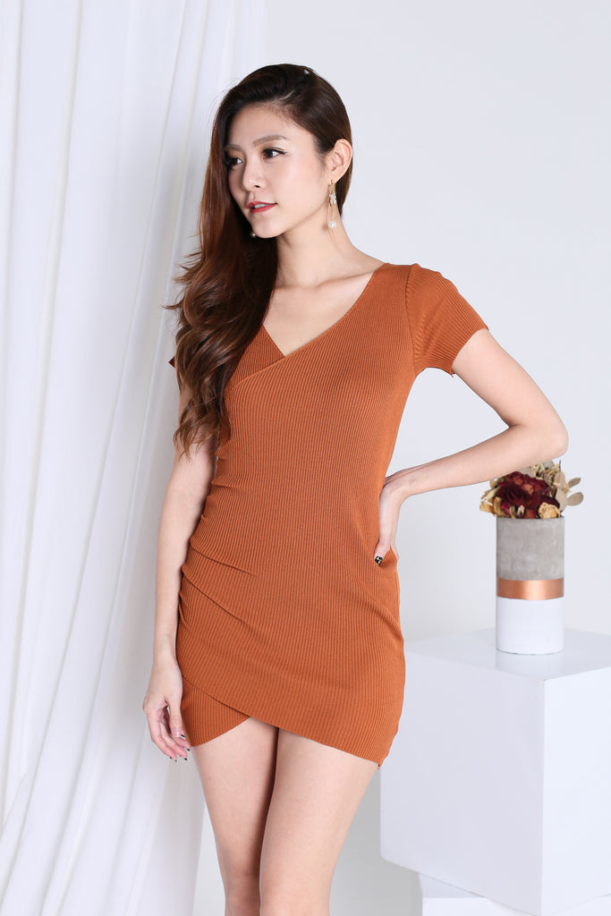 *RESTOCKED* FONDA WRAP KNIT DRESS IN CAMEL - TOPAZETTE