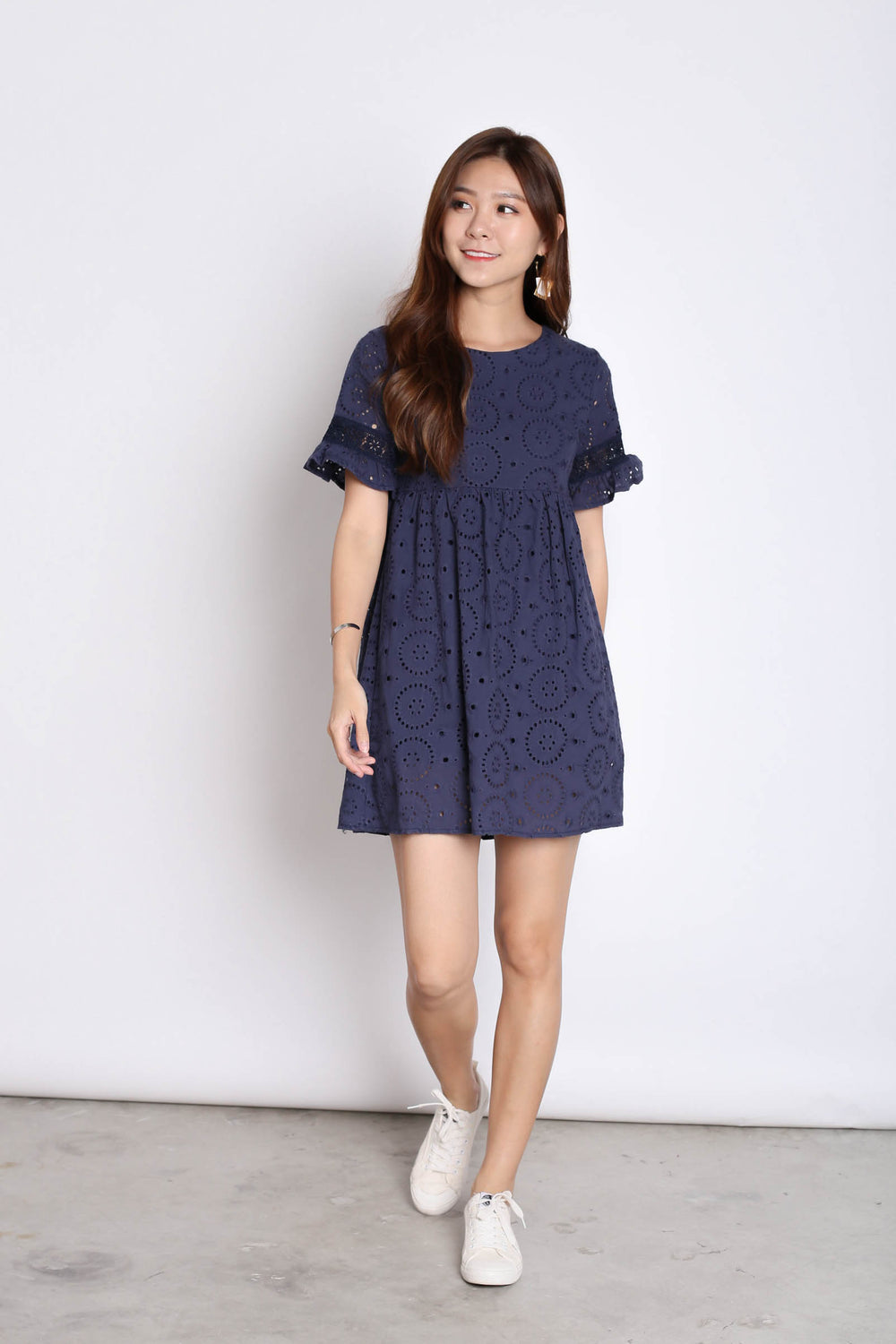 *TPZ* (PREMIUM) LAEL BABYDOLL DRESS ROMPER IN NAVY