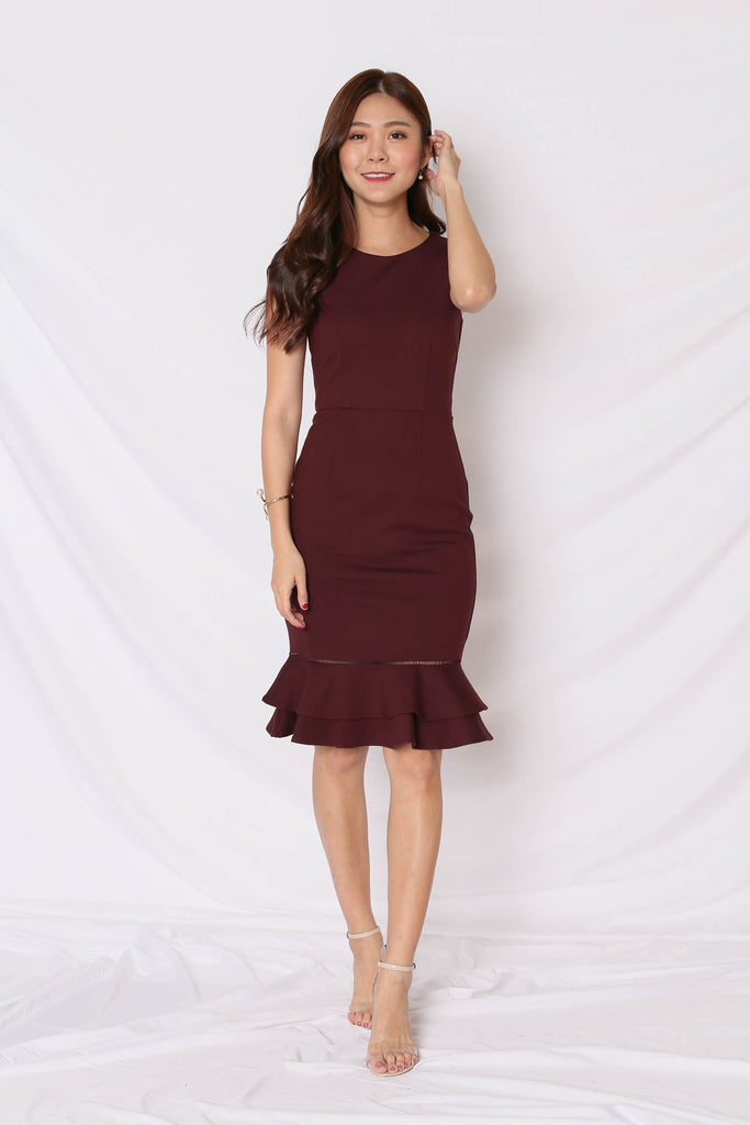 *TPZ* (PREMIUM) PRYSE MERMAID BODYCON DRESS IN PLUM