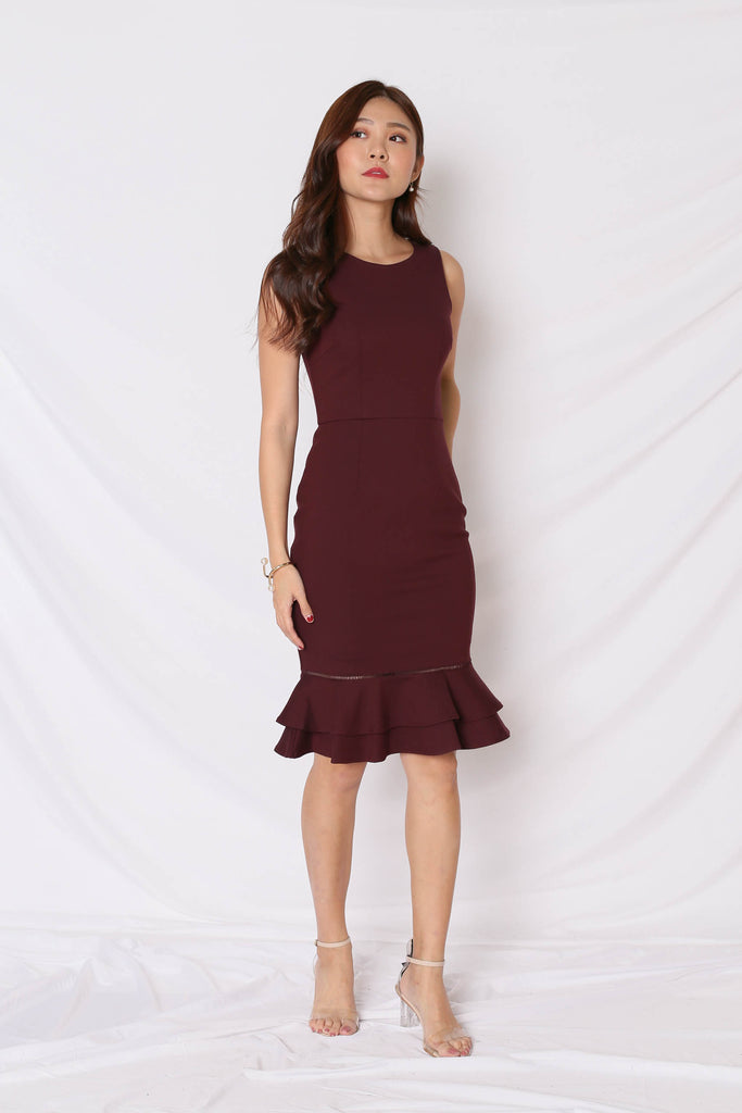*TPZ* (PREMIUM) PRYSE MERMAID BODYCON DRESS IN PLUM - TOPAZETTE