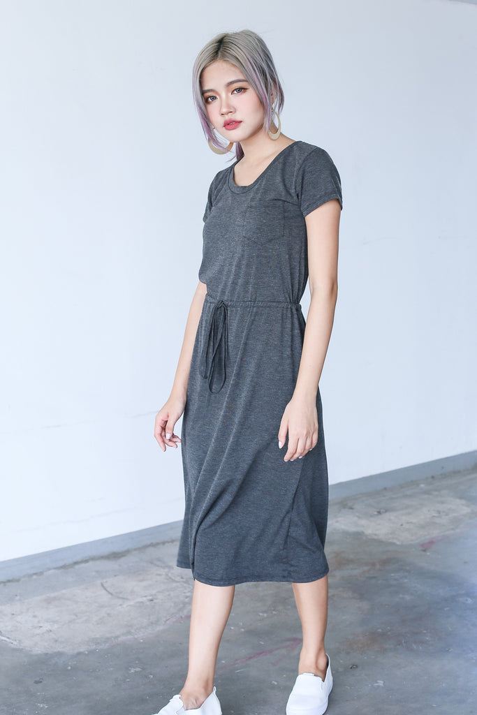 *BACKORDER* DRAWSTRING POCKET MIDI DRESS IN DARK GREY - TOPAZETTE