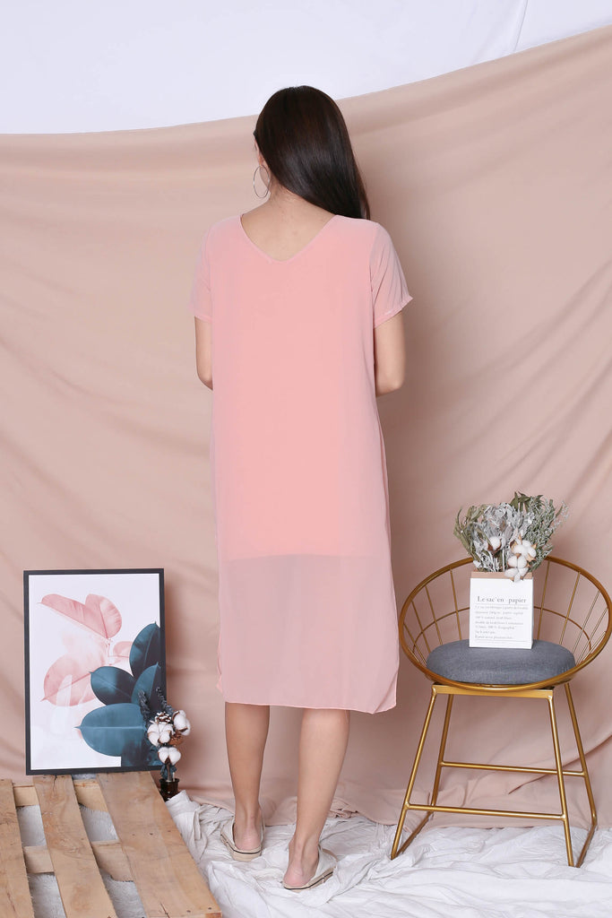 PEYTON CHIFFON OVERLAY DRESS IN PINK - TOPAZETTE