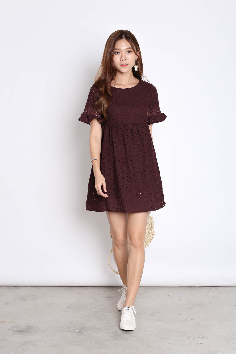 *TPZ* (PREMIUM) LAEL BABYDOLL DRESS ROMPER IN PLUM