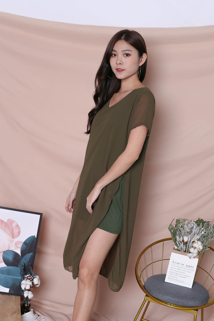 PEYTON CHIFFON OVERLAY DRESS IN OLIVE