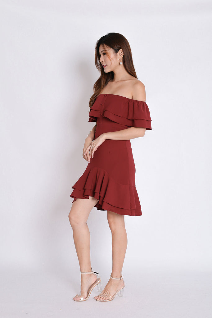 *TPZ* (PREMIUM) FAUSTINE OFF SHOULDER RUFFLES DRESS IN BURGUNDY - TOPAZETTE