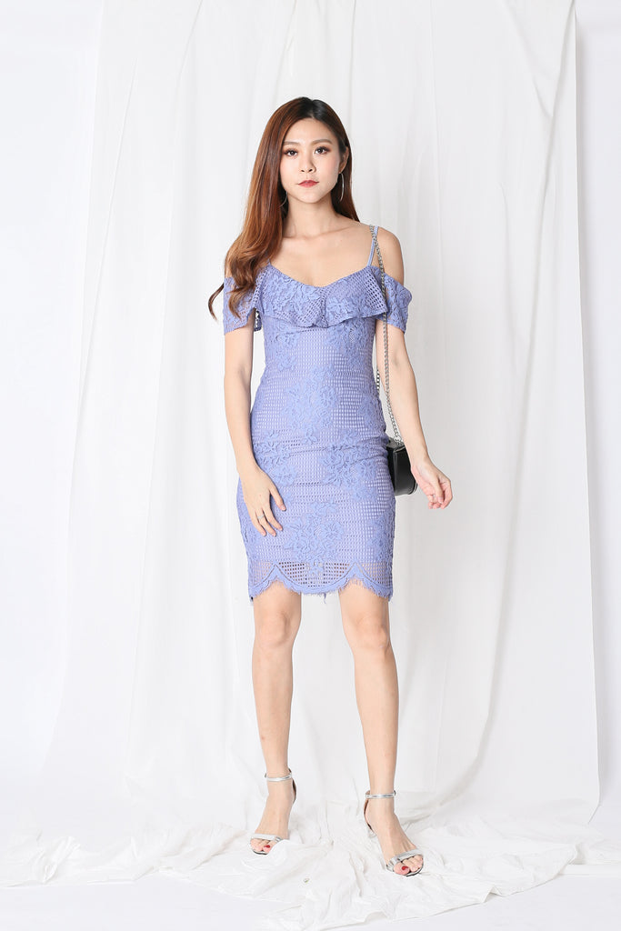 (PREMIUM) SOLACE LACE DRESS IN PERIWINKLE - TOPAZETTE