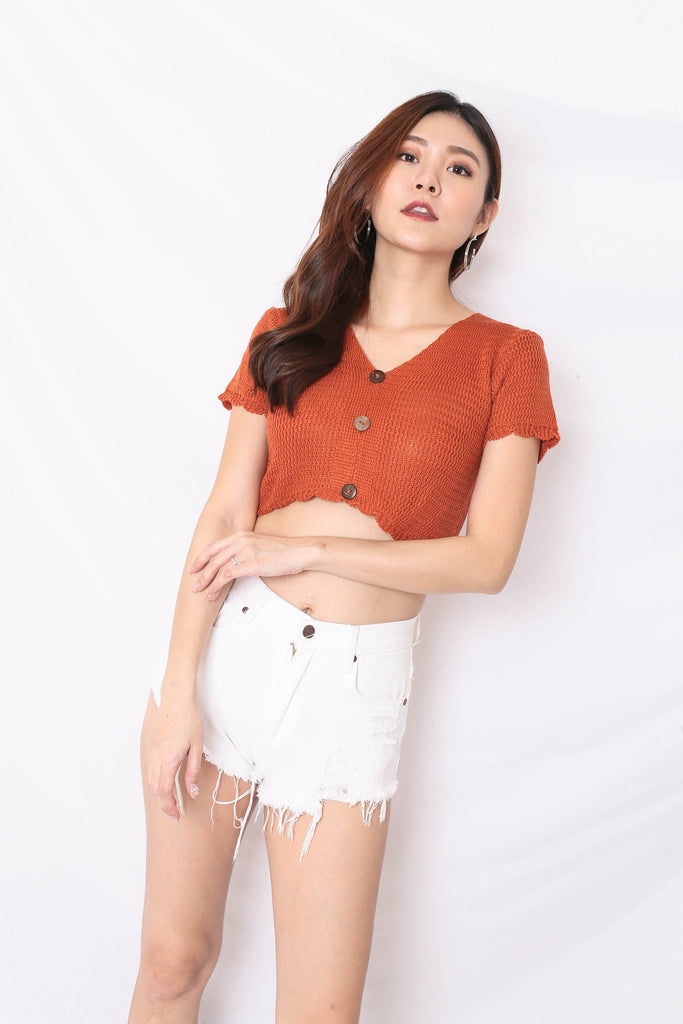 NOVA WOVEN KNIT TOP IN RUST