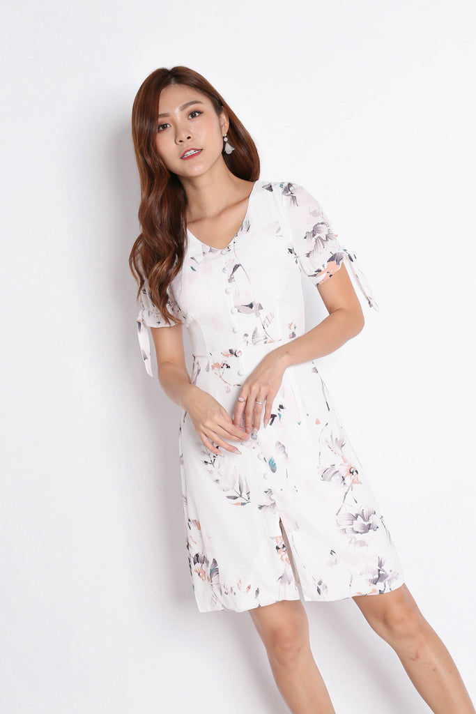 *TPZ* (PREMIUM) KACEE BUTTON DOWN RIBBON DRESS IN WHITE FLORALS - TOPAZETTE