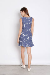 (PREMIUM) BRIELL ABSTRACT DRESS IN DUSTY BLUE