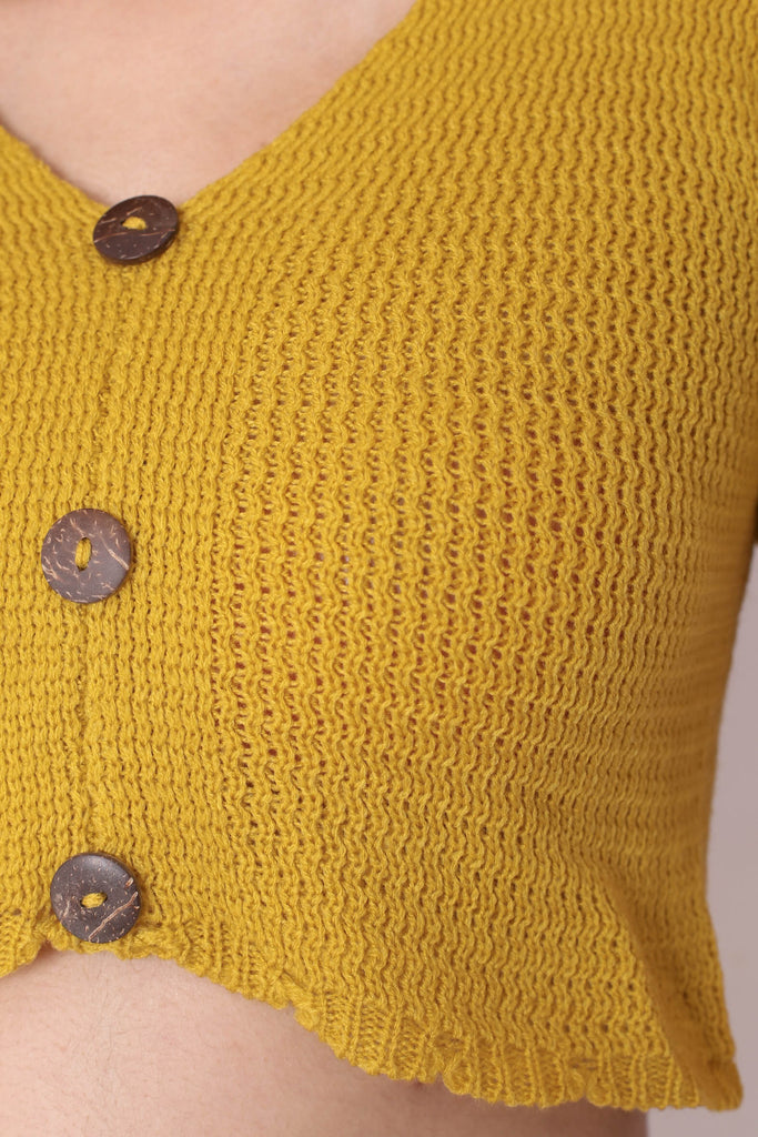 NOVA WOVEN KNIT TOP IN MUSTARD