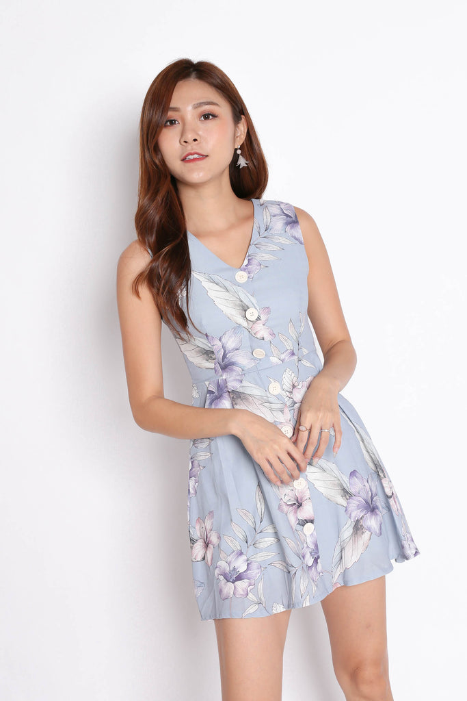 (PREMIUM) YUSRA DRESS ROMPER IN DUSTY BLUE FLORALS - TOPAZETTE