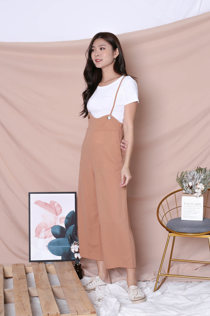 UVERA DUNGAREE JUMPSUIT IN CAMEL - TOPAZETTE