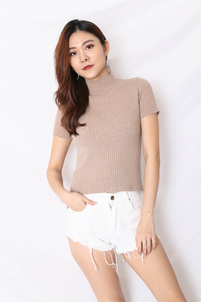 RYLEE HIGH NECK SOFT KNIT TOP IN MALT