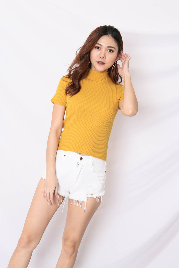 RYLEE HIGH NECK SOFT KNIT TOP IN SUNSHINE