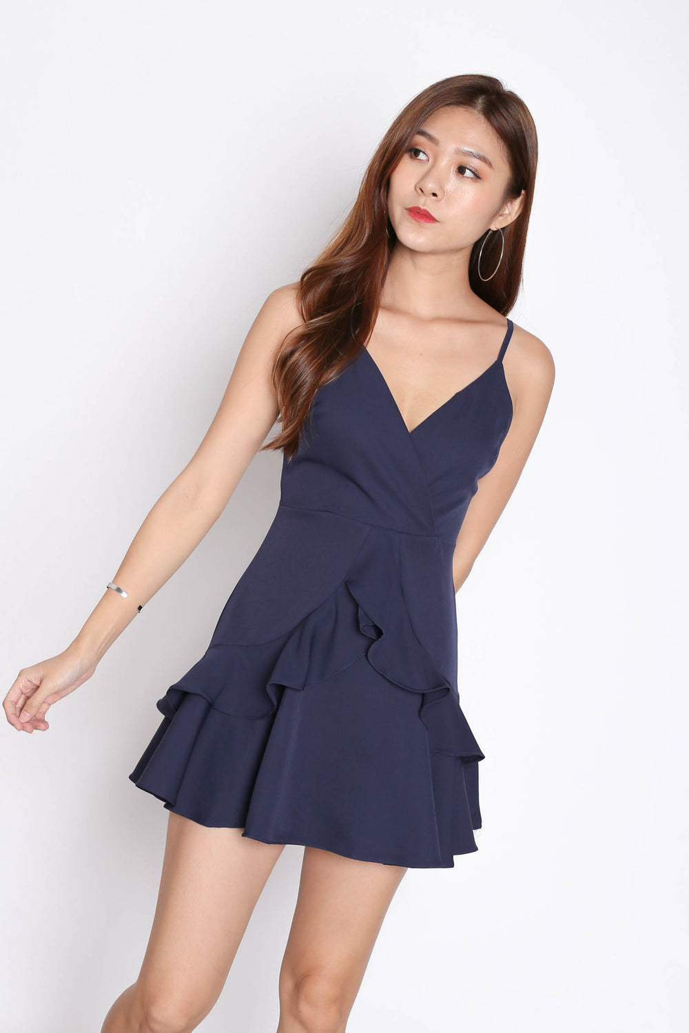 *TPZ* (PREMIUM) SAGE RUFFLES DRESS ROMPER IN NAVY