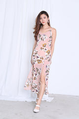 GEN FLORAL SLIT MAXI IN DUSTY PINK