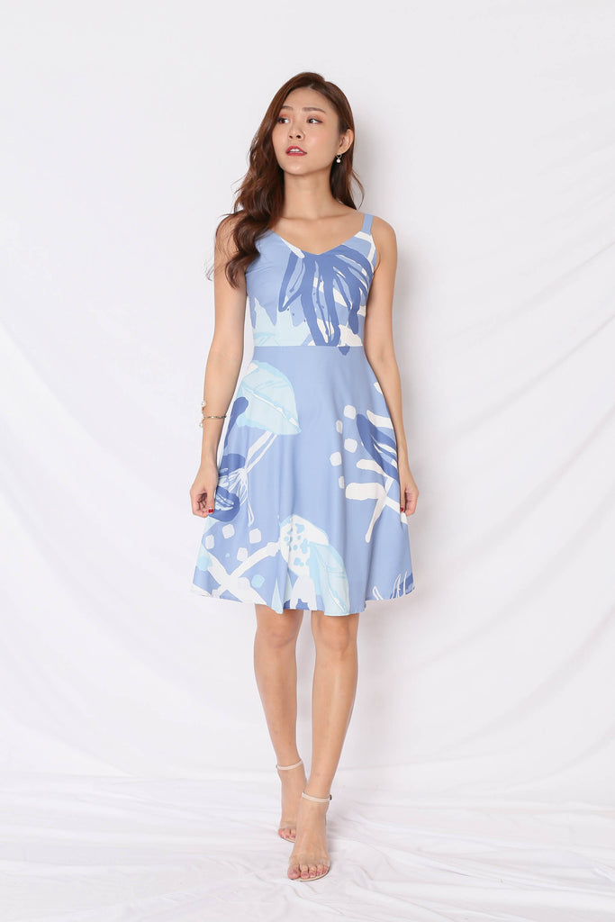 *TPZ* (PREMIUM) FLEURETTE SKATER DRESS IN BLUE - TOPAZETTE